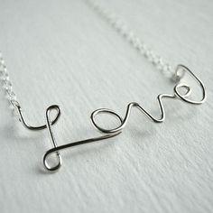 Love Necklace Sterling Silver Cursive Script by AzizaJewelry, $35.00