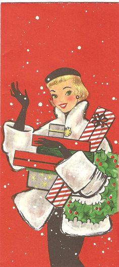 Vintage felicitación de Navidad