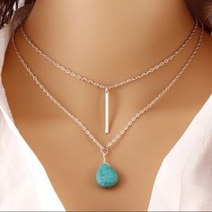 Turquoise Bar Necklace Beautiful Silver toned turquoise & bar drop double layer necklace. Brand New with tag - ❤️Bundle & save 15%❤️ or make an offer. Jewelry Necklaces