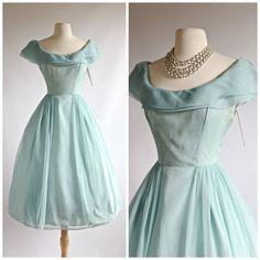 1950s Aquamarine Party Dress ~ Vintage 1950s Lorie Deb Prom Dress ~ 50s Prom Dress