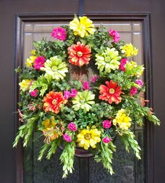 Wreaths For Front Door | Spring Wreaths Summer Wreath Front Door Wreath Colorful Wall Floral ...