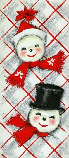 #retrochristmas Vintage Christmas Card. Retro Snowmen.