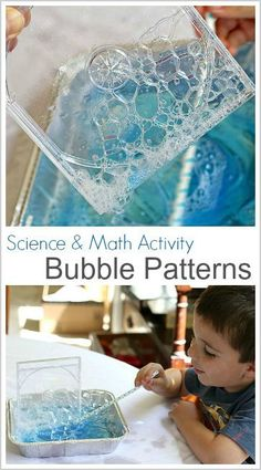 Science & Math Activity for Kids: Exploring Bubble Patterns- Fun STEM and STEAM activity for summer, outdoors, and a really cool hands-on way to explore and play with bubbles! Bubble Activities, Science Activities For Kids, Stem Science, Preschool Science, Science Experiments Kids, Science Classroom, Learning Activities, Preschool Activities, Kids Learning