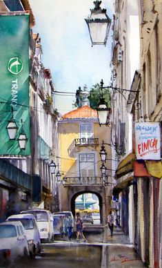 Cityscapes - Watercolour Painter Portugal, Alleyway, Rue, Times Square, The Neighbourhood, Urban, Coin, Cityscapes, Street