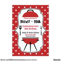 brews and bbq party invitation barbecue party and cookout invitation red black and
