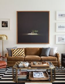 Large scale art and vintage coffee table // living rooms