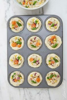 Mini chicken pot pies! || yum to this but I'd swap out carrots and peas for shiitake or baby portobello mushrooms