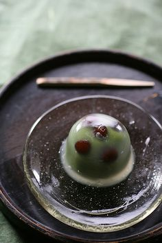 Mizu-manju with matcha