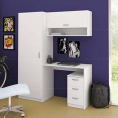 Guarda-roupa com Escrivaninha 2 Portas e 3 Gavetas Milan Branco - Madesa | Lojas KD