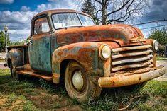 Rusty 1950 Chevy Truck - Vintage and Retro Cars Old Pickup Trucks, Farm Trucks, Cool Trucks, 4x4 Trucks, Diesel Trucks, Lifted Trucks, Rusty Cars, Classic Chevy Trucks, Chevy Classic