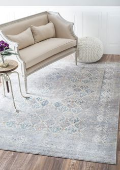 A Striking Rugs USA Grey Rug With Hints Of Blue. This Is A Vintage Dream