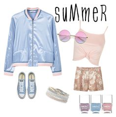 """summer bomber jacket"" by janew455 ❤ liked on Polyvore featuring MANGO, Topshop, Nails Inc., Stella & Dot and bomberjackets"