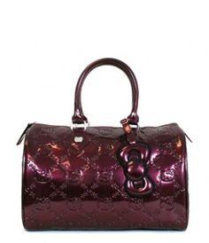 5eba099fe6ba New Hello Kitty Embossed City Bag Burgundy Shinky Patent Handbag Loungefly