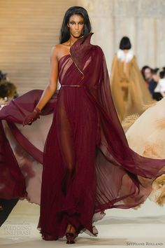 stephane rolland fall 2012 couture burgundy chiffon gown, evening wear, haute couture jaglady