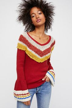 This long sleeve top features unexpected details with a contrast sweater design along the neckline and flared sleeves. Hundreds of new Free People clothes, shoes and BAGS just listed. Cozy Winter Fashion, Sweaters For Women, T Shirts For Women, Sweater Design, Comfortable Fashion, Lace Tops, Boho Fashion, Spring Fashion, Long Sleeve Tops