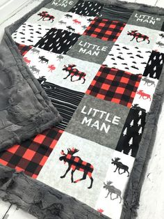 Little Man Minky Blanket  Faux Quilt  Designer Minky  Grey