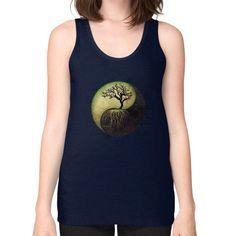 Ying Yang Tree Unisex Fine Jersey Tank (on woman)