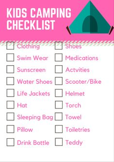 Kids camping checklist - free printable from Coffee Cup Mum scroll to the bottom of the blog to get your free printable checklist