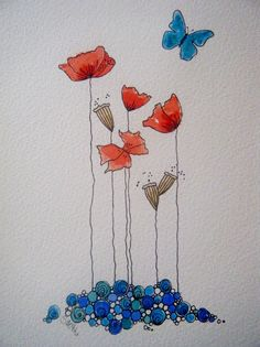ORIGINAL watercolour and ink painting of poppies £30.00 available from folksy.com/shops/inkybird