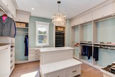 An Almond melamine walk-in, specially designed for the Homearama showcase in Virginia!  Designed by Closet Factory Hampton Roads  Learn more here: https://www.closetfactory.com/blog/ Closet Island, Master Closet, Walk In Closet, Hampton Roads, Custom Closets, Dressing Rooms, Custom Cabinetry, Closet Designs, Big Closets