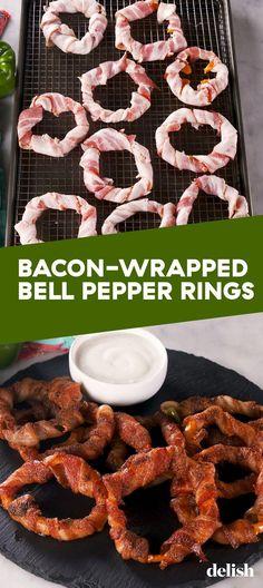Bacon-Wrapped Bell Pepper Rings = Best Low-Carb SnackDelish - Düşük karbonhidrat yemekleri - Las recetas más prácticas y fáciles Keto Foods, Keto Snacks, Healthy Snacks, Diabetic Snacks, Keto Meal, Yummy Snacks, Best Low Carb Snacks, Low Carb Diet, Liw Carb Snacks