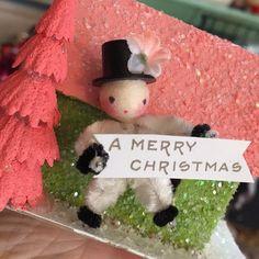 """""""Tiniest of tiny spun heads. Vintage Christmas Crafts, Retro Christmas, Vintage Holiday, Christmas Art, Holiday Crafts, Christmas Holidays, Christmas Gifts, Christmas Figurines, Christmas Baubles"""