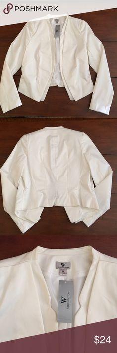 Jacket by Worthington Size M White Tuxedo Style Jacket Back Is a Little Shorter Open  Front Lined Size M 56% Cotton 42% Nylon 2% Spandex Lining is 100% Polyester NWT Worthington Jackets & Coats
