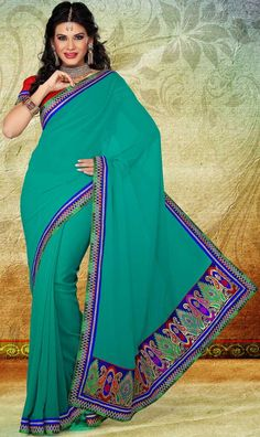 Blue Faux Georgette and Lace Saree With Blouse - IG7007 USD $ 36.01