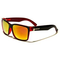 Biohazard Mens Wayfarer Style Two-Toned Sunglasses Black and Red with Color Mirror Lens Red Sunglasses, Oakley Sunglasses, Wayfarer, Color Pop, Lens, Temple, Mirror, Frames, Bright