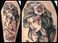 """""""This is my piratelady. It's not coloured yet though. Love the sea and the thought of living life as free as a pirate.  Done by Freulein Fux, Eisenherz Piercing and Tattoo, Magdeburg/Germany."""""""