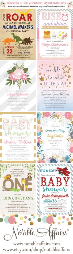 Hundreds of fun, modern, stylish yet affordable invitations for birthdays, baby showers, gender reveals, bridal showers and more!