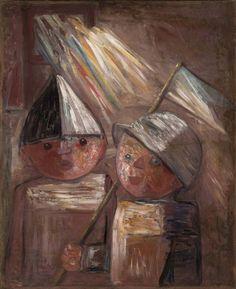 Dwoje dzieci z chorągiewką - Tadeusz Makowski