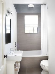 Magnificent Small Bathroom Tile Ideas of Modern Bathroom Design: Remarkable Small Bathroom Tile Ideas Of Contemporary Bathroom With White Pa. Contemporary Bathroom, Trendy Bathroom, Guest Bathroom, Glass Block Shower, Tiny Bathroom, Contemporary Bathroom Designs, Bathroom Design Small, Bathroom Design, Tile Bathroom