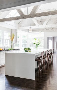 I like the contemporary island with painted wood kitchen.