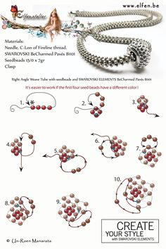Right Angle Weave Tube with seedbeads and SWAROVSKI ELEMENTS BeCharmed Pavés 81101 www.elfen.be