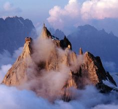 "Aiguille du Midi ""Needle of the Noon"" or ""Needle of the Mid-day"", Chamonix, France #Chamonix #France #travel"