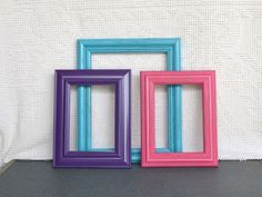 Turquoise Pink Purple Frames with GLASS Set of 3 - Upcycled Frames for Prints Modern Teenage Nursery Bedroom Decor