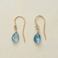 """CLEAR SKIES EARRINGS--Blue topaz briolettes bring the beauty of crystal clear skies down to earth. 18kt vermeil French wires. A handmade exclusive. 1""""L."""