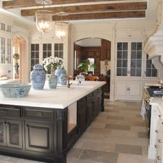 more transparent lights in kitchen w/ beams might be ... | Dream Kitc ...
