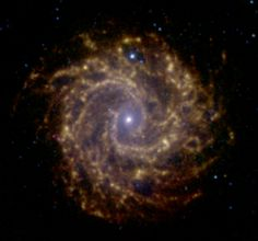 NGC 3184 is a spiral galaxy approximately 40 million light-years away in the constellation Ursa Major. Spiral galaxy NGC 3184 as observed with the Spitzer Space Telescope as part of the Spitzer Infrared Nearby Galaxy Survey.