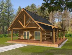 *Butt & Pass Log Home *Living Room *Bathroom with Stackable Washer/Dryer Log Cabin Floor Plans, Cabin House Plans, Log Home Plans, Cabin Kits, Log Cabin Homes, Small House Plans, Log Cabins, Small Log Cabin Plans, Small Log Homes