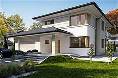 Dom Karat 3 w budowie Modern Family House, Modern House Plans, Modern House Design, Style At Home, Duplex Design, Duplex House, American Houses, Building Exterior, Exterior House Colors