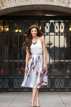 Grey Floral Midi Skirt, Printed Midi Skirts for Women, Pretty Midi Skirts, Spring Wedding Outfits