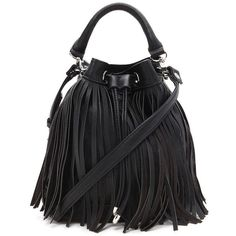 Forever21 Fringed Faux Leather Bucket Bag (26 CAD) ❤ liked on Polyvore featuring bags, handbags, shoulder bags, black, vegan purses, fringe shoulder bag, fringe bucket bags, bucket bags and faux leather handbags