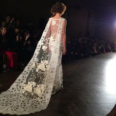 """""""It was all about the details at Claire Pettibone's very feminine, Victorian inspired show this evening! We loved how this see-through, floral veil allowed you to see the back of the gown. Definitely one of our favorites"""" - Sofia Crokos- Claire Pettibone Fall 2016 #TheGildedAge Collection Claire Pettibone, Trendy Wedding, Wedding Styles, Boho Wedding, Dream Wedding, Vintage Inspired Dresses, Vintage Dresses, Wedding Veils, Wedding Dresses"""
