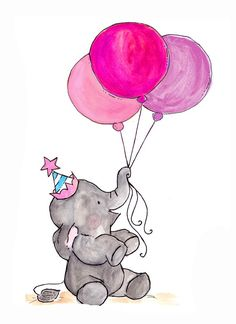 Elefante to drawing elephant Birthday Quotes, Birthday Wishes, Birthday Cards, Cute Illustration, Watercolor Illustration, Illustration Pictures, Art Illustrations, Elephant Art, Elephant Balloon