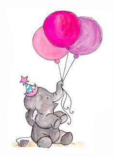 Elefantinho com Três Balões