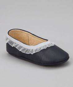Take a look at this Navy Ruffle Ballet Flat by Petit Pas on #zulily today!