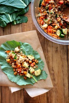 Quinoa + Roasted Chickpea Collard Wraps | The Wheatless Kitchen / Wholesome Foodie <3