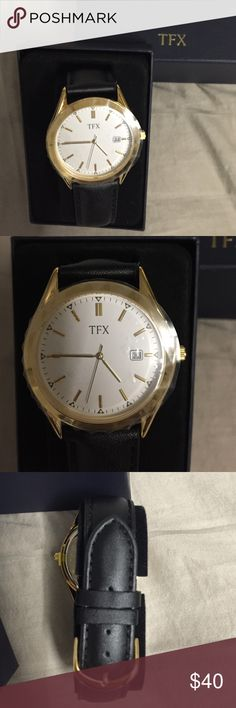 """TFX Watch by Bulova - Men NEW!  TFX Watch by Bulova with black leather strap - men. Needs to replace battery. The strap is genuine leather. The back has imprint """"TFX distributed by Bulova corp. B4 base metal bezel stainless steel back water resistant 37B100"""". Bulova Accessories Watches"""